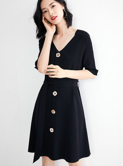 Casual Gathered Waist Tied Black Slim Knitted Dress