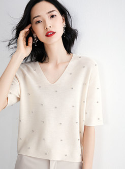 Brief V-neck Diamond-studded Loose Sweater