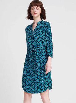 V-neck Print Tied Slim Irregular T-shirt Dress