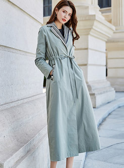 Stylish Striped Splicing Tied Drawstring Trench Coat
