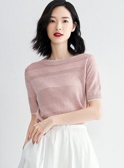 Brief Striped Pink Short Sleeve Pullover Sweater