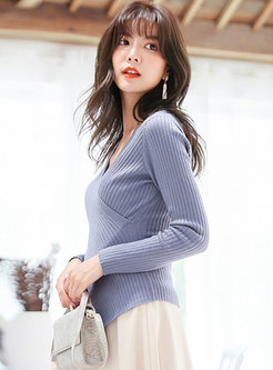 Casual All-matched Pure Color Knitted Sweater