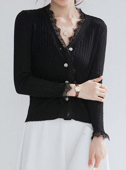 Solid Color V-neck Lace Splicing Cardigan
