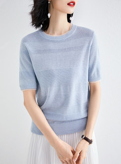 Brief Striped Blue Short Sleeve Pullover Sweater