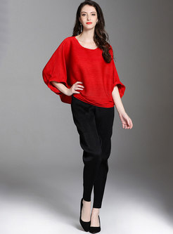 Solid Color O-neck Bat Sleeve Pleated T-shirt