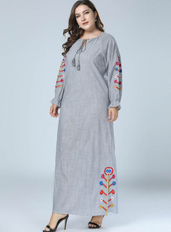 Casual Embroidered Splicing O-neck Tied Maxi Dress