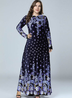 Chic O-neck Print Velvet Big Hem Maxi Dress