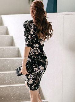 V-neck Print Asymmetric Wrap Bodycon Dress