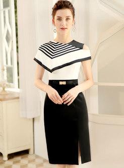 Elegant Off Shoulder Geometric Pattern Split Bodycon Dress
