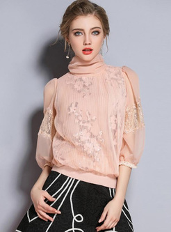 Mesh Lace Sequined High Neck Seven-Tenths Sleeves Women's Tops