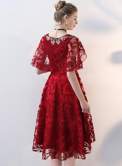 Embroidery Lace Solid Color V-Neck Sleevesless Mini Dresses