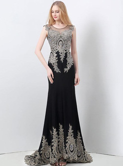 Embroidery Sequined Contrast O-Neck Sleevesless High Waist Evening Dresses