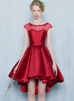 Solid Color Contrast O-Neck Sleevesless Pleated Mid Dresses