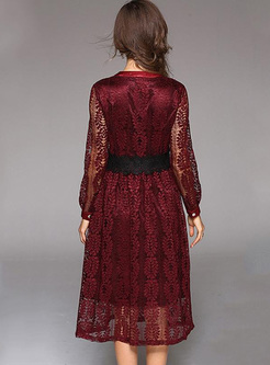 Embroidery Hollow Out Contrast V-Neck Long Sleeves Dresses