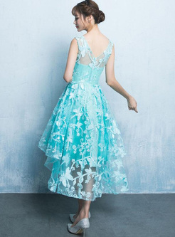 Lace Solid Color O-Neck Sleeveless High Waist Mid Dresses