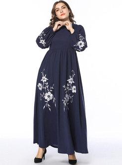 Embroidered Loose Big Hem Long Sleeve Maxi Dress