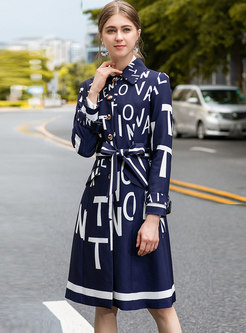 Stylish Lapel Print Single-breasted Trench Coat