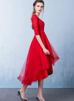 Lace Sequined Sashes O-Neck Half Sleeves Asymmetrical Dresses