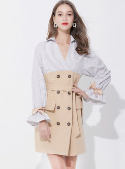 Fashion Striped Splicing Tied Long Sleeve Sheath Dress