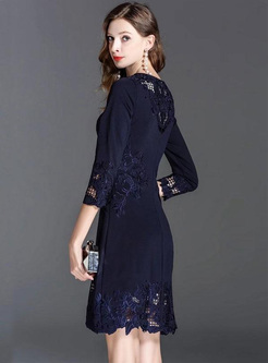Embroidery Floral Hollow Out Contrast Dresses