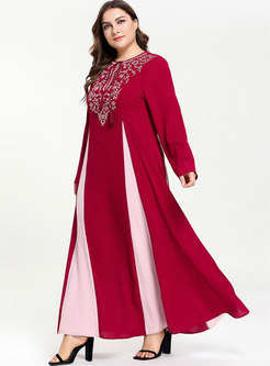 Color-blocked Splicing Embroidered Tied Maxi Dress