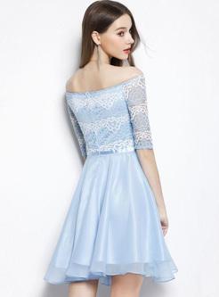 Lace Contrast Slash Neck Half Sleeves A-Line Dresses