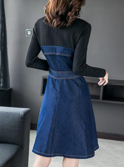 Contrast Solid Color Zipper O-Neck Long Sleeves Midi Dresses