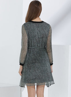 Casual Plaid Falbala Splicing Tied Mini Dress