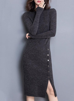 Solid Color Split O-Neck Long Sleeves Knitted Dresses