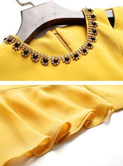 Stylish Diamond Gathered Waist Irregular Bodycon Dress