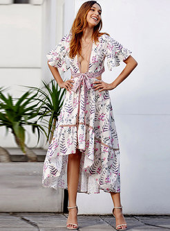 Chic Deep V-neck Bohemian Print Hollow Out Maxi Dress