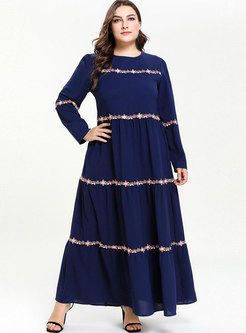 Brief Plus Size Lace Multi-layer Comfortable Maxi Dress