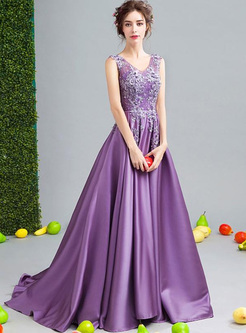 Embroidery Lace Deep V Neck Sleeveless Purple Tailing Dresses