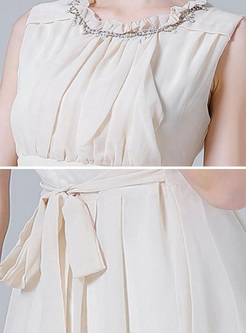 Embroidery Contrast O-Neck Sleeveless High Waist Maxi Dresses