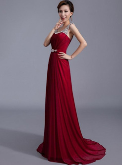 Sequined Contrast Solid Color Deep V Neck Sleevesless Maxi Dresses