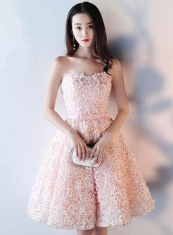 Flowers Sashes Off Shoulder Strapless Backless Mid Prom Dresses