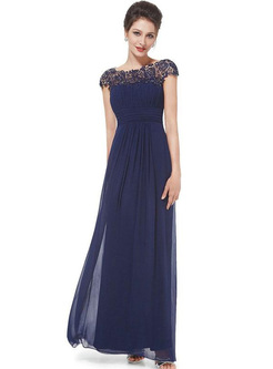 Lace Sequin O-Neck Short Sleeves High Waist Evening Dresses