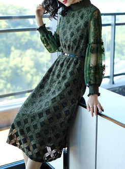 Embroidery Floral Contrast Stand Collar A-Line Dresses