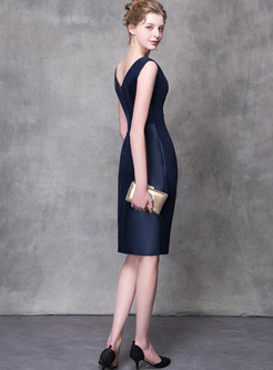 Solid Color Deep Sleeveless Backless Sheath Midi Dresses