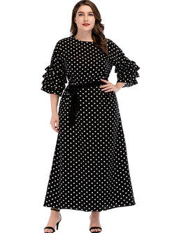 Casual Polka Dot Plus Size Tied Maxi Dress