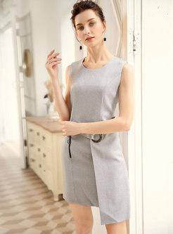Work High Waist Slim Irregular Sheath Dress