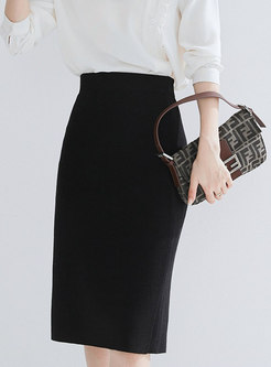 Brief Pure Color High Waist Split Knitted Skirt