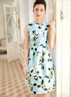 Chic Print Gathered Waist Sleeveless Skater Dress