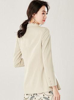 Solid Color Lapel Slim Long Sleeve Work Blazer