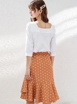 Casual Polka Dot Falbala Irregular Chiffon Skirt