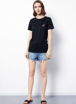 Casual Embroidered Summer Short Sleeve T-shirt