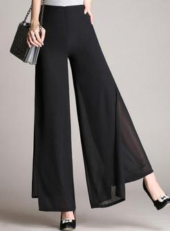 Solid Color Women's Chiffon Wide Leg Pants
