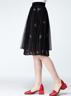 Embroidery Mesh Women's Midi Skirts