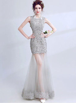 Embroidery Hollow Out O-Neck Sleeveless Backless Long Dresses