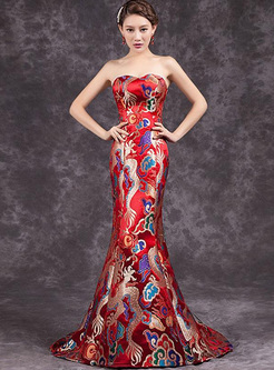 Embroidery Ethnic Pattern Sleeveless Sheath Prom Dresses